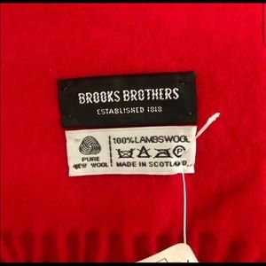 New Brooks Brothers Scarf 100% Lambswool Red Scarf